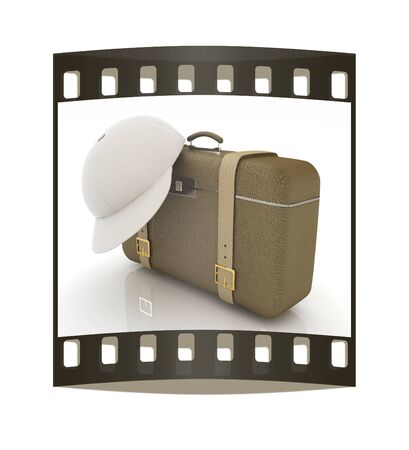 peaked cap: Brown travelers suitcase and peaked cap on a white background. The film strip