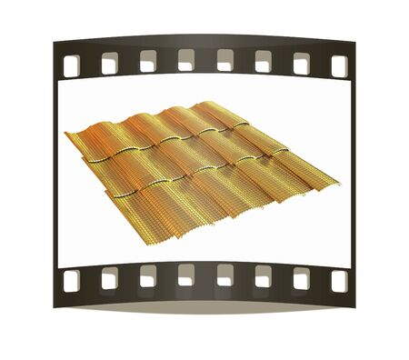 Gold 3d roof tiles isolated on white background. The film strip photo