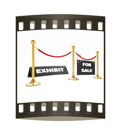 Exhibition on a white background. The film strip photo