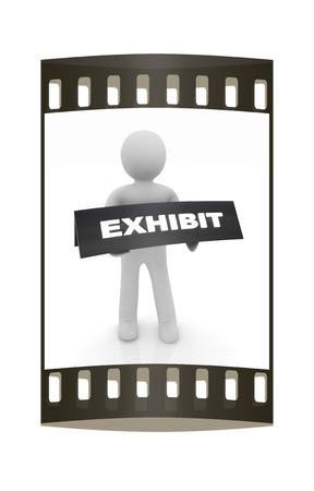 3d man opens the exhibition on a white background. The film strip photo