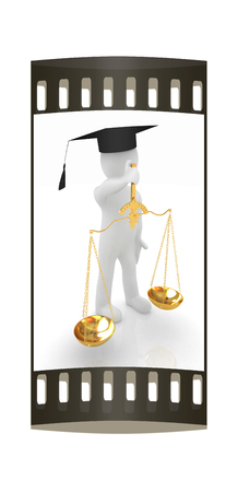 arbitrate: 3d man - magistrate with gold scales. Isolated over white. The film strip