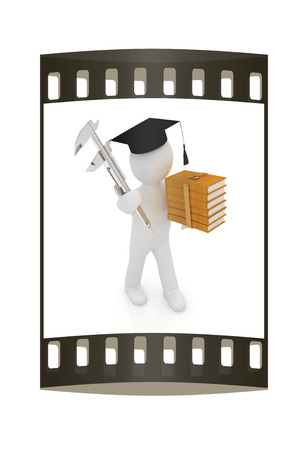 vernier caliper: 3d man in graduation hat with the best technical educational literature and vernier caliper on a white background. The film strip
