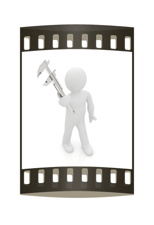 3d man with vernier caliper on a white background. The film strip photo