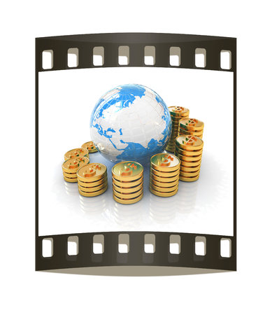 making earth: Gold dollar coin stack around the Earth isolated on white. The film strip