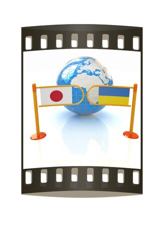 Three-dimensional image of the turnstile and flags of Japan and Ukraine on a white background. The film strip photo