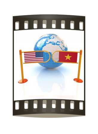 truce: Three-dimensional image of the turnstile and flags of USA and Vietnam on a white background. The film strip Stock Photo