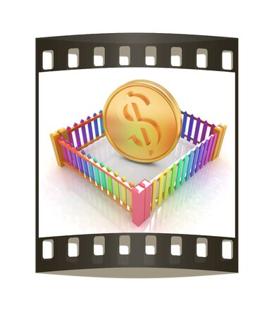 somebody: Dollar coin in closed colorfull fence concept illustration on a white background. The film strip