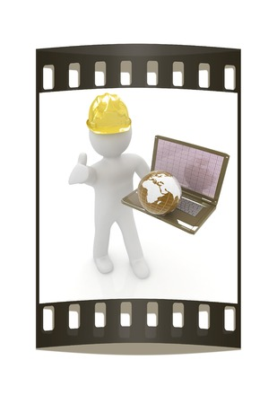 elevation meter: 3D small people - an international engineer with the laptop and earth on a white background. The film strip Stock Photo