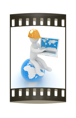 hard working man: 3d man in a hard hat sitting on earth and working at his laptop on a white background. The film strip