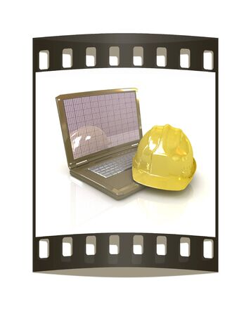 geodesist: Technical engineer concept on a white background. The film strip