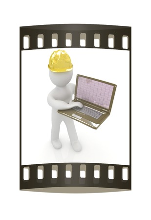 geodesist: 3D small people - an engineer with the laptop on a white background. The film strip