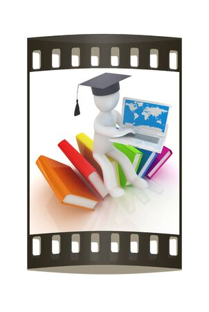 living wisdom: 3d man in graduation hat sitting on books and working at his laptop on a white background. The film strip