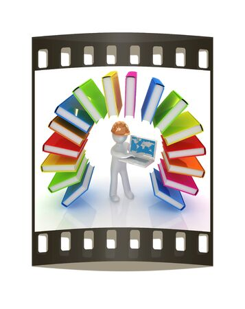 hard hat: Colorful books like the rainbow and 3d man in a hard hat with laptop on a white background. The film strip