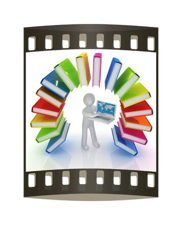 Colorful books like the rainbow and 3d man with laptop on a white background. The film strip photo