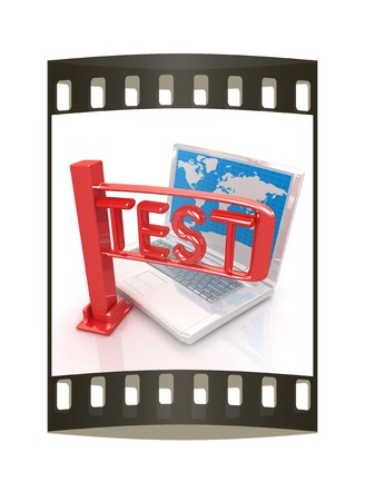 exams: A laptop and a turnstile. The concept of exams or other control on a white background. The film strip