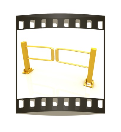 turnstile: Three-dimensional image of the turnstile on a white background. The film strip