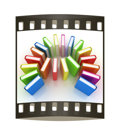 learning series: colorful real books on a white background. The film strip Stock Photo