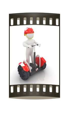 white person: 3d white person riding on a personal and ecological transport.3d image. The film strip
