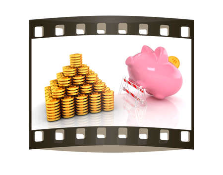 gold bar earn: Savings no barriers! on a white background. The film strip