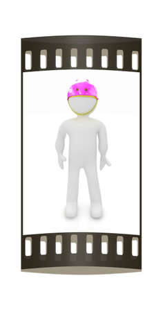 smudgy: 3d man in bicycle helmet on a white background. The film strip Stock Photo