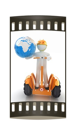 3d white person riding on a personal and ecological transport and earth.Global ecology and healthy life concept.3d image. The film strip photo
