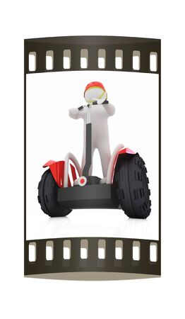 3d white person riding on a personal and ecological transport.3d image. The film strip photo