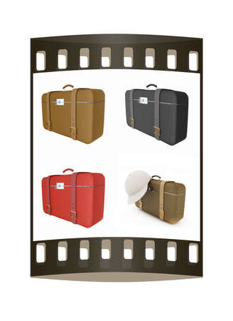 clear skin: Travelers suitcase set on a white background. The film strip