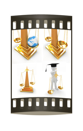 Justice set on a white background. The film strip photo
