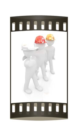 3d mans in a hard hat with thumb up. On a white background. The film strip photo