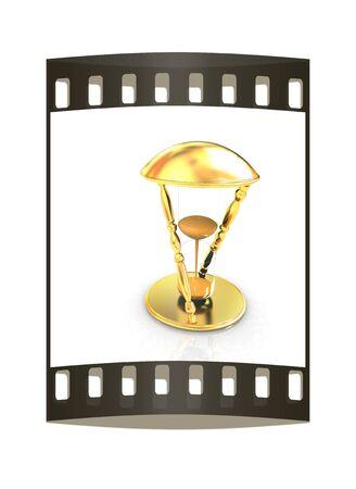 sand clock: Clessidra trasparente isolato su sfondo bianco. Sand orologio icona 3d. La striscia di pellicola