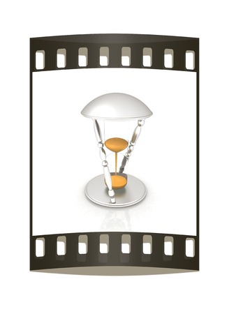 trickling: Transparent hourglass isolated on white background. Sand clock icon 3d illustration. The film strip