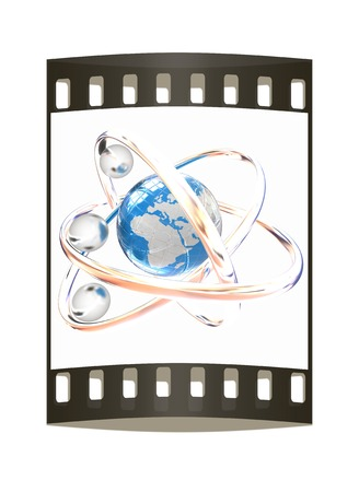 3d atom isolated on white background. Global concept. The film strip photo