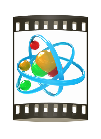 3d illustration of a water molecule isolated on white background. The film strip illustration