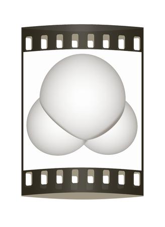 water molecule: 3d ilustraci�n de una mol�cula de agua aisladas sobre fondo blanco. La tira de pel�cula Foto de archivo