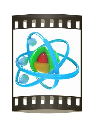 3d atom isolated on white background. The film strip photo