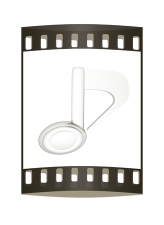 3d note isolated on white background. The film strip photo