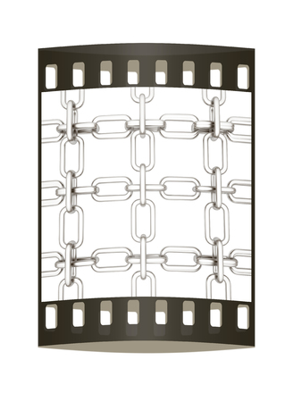 interlink: Metall chains isolated on white background. The film strip