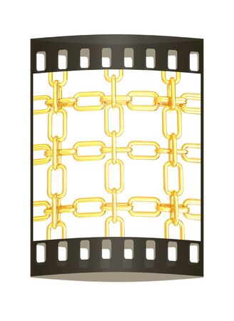 interlink: Gold chains isolated on white background. The film strip Stock Photo