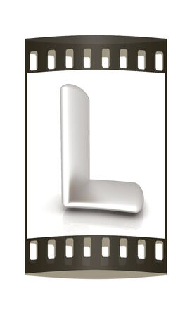metall: 3D metall letter L isolated on white. The film strip Stock Photo