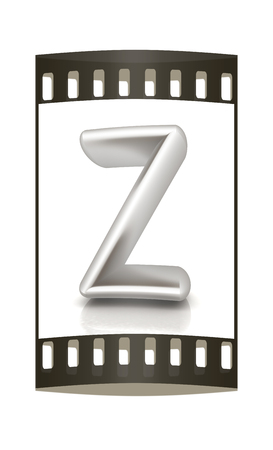 metall: 3D metall letter Z isolated on white. The film strip
