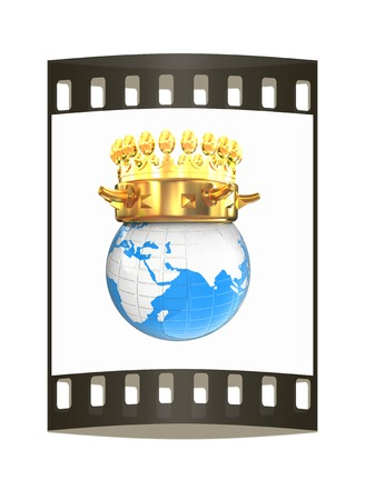 luxuriance: Gold crown on earth isolated on white background. The film strip