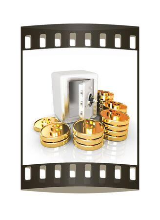 open a bank vault with a bunch of gold coins. isolated on white. The film strip photo