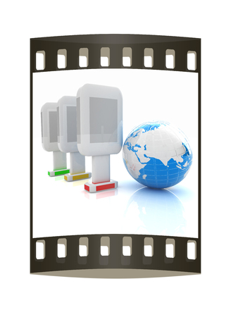 Vertical glossy billboards and earth. 3d illustration on white background. The film strip