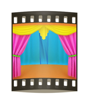 Colorfull curtains and wooden scene floor. The film strip photo