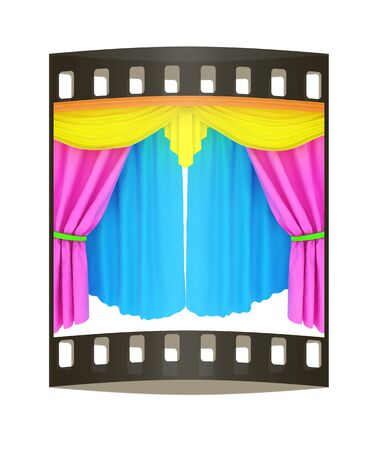 velvet rope: Colorfull curtains isolated on a white background. The film strip Stock Photo