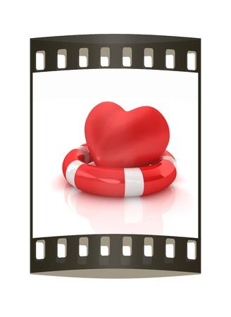lifesaving: Heart and life belt. Concept of life-saving. The film strip Stock Photo