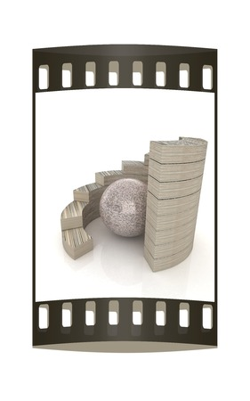 Abstract stone structure with ball in the center. The film strip photo