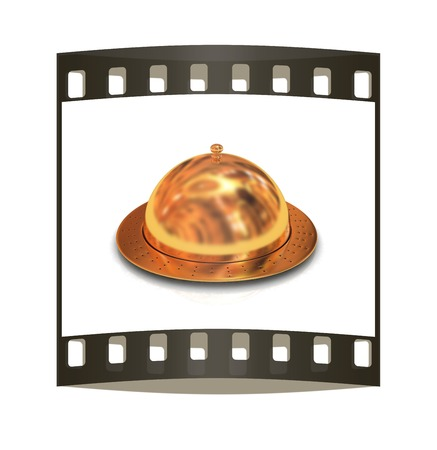 Restaurant cloche isolated on white background. The film strip photo