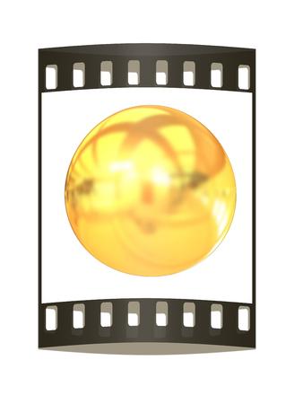 gold  ball: Gold Ball 3d render. The film strip