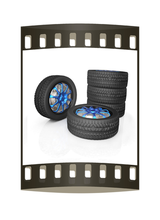ring road: car wheel illustration on white background. The film strip